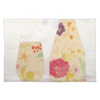Wine Bottle and Glass Placemat