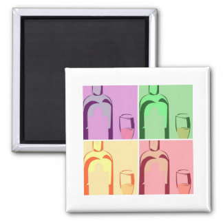 Wine Bottle and Glass Pop Art Square Magnet