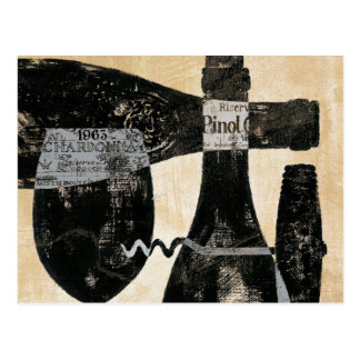 Wine Bottle and Glass Postcard