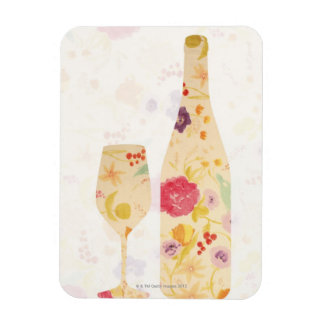 Wine Bottle and Glass Rectangular Photo Magnet
