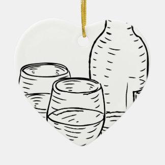 Wine Bottle and Glasses Vintage Retro Style Ceramic Heart Decoration