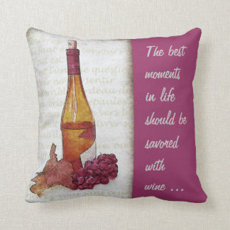 wine bottle and grape with wine quote cushion