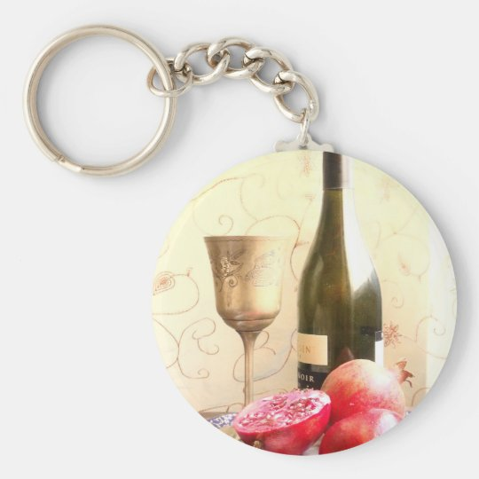 Wine Bottle And Pomegranates Basic Round Button Key Ring