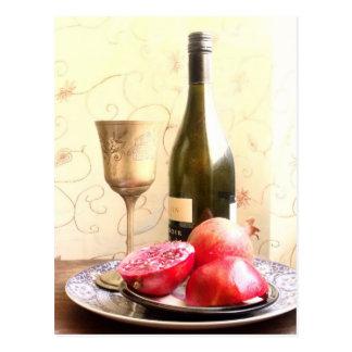 Wine Bottle And Pomegranates Postcard