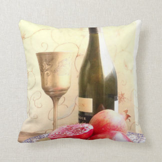 Wine Bottle And Pomegranates Throw Cushions