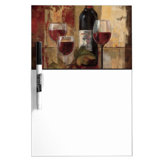 Wine Bottle and Wine Glasses Dry Erase Board