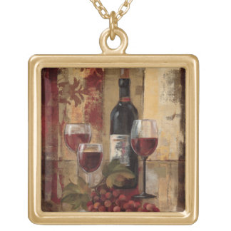 Wine Bottle and Wine Glasses Pendants
