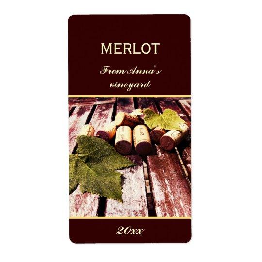 Wine bottle corks and grape leaf bottle label