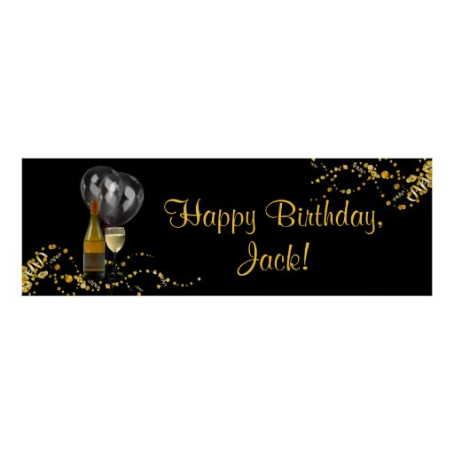 Wine Bottle Glass Gold Black Birthday Party Banner Posters