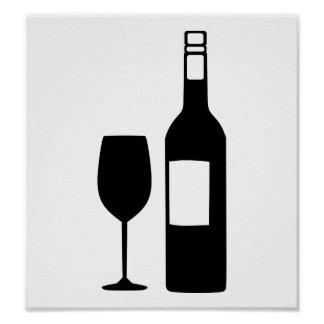 Wine bottle glass poster