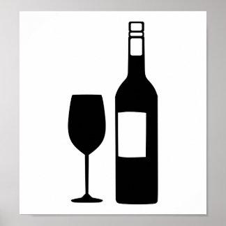 Wine bottle glass print