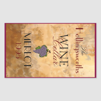 Wine Bottle Label Personalized Rectangular Sticker