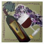 Wine Bottle n Grapes M Ceramic Tiles