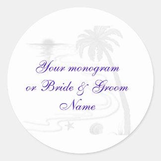Wine Bottle or Beer Labels  Beach Wedding Classic Round Sticker