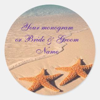 Wine Bottle or Beer Labels Starfish Beach Wedding