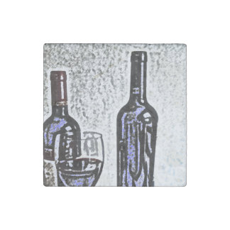 Wine Bottle Still Life Color Pencil Drawing Stone Magnet