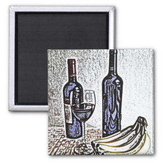 Wine Bottle Still Life Color Pencil Drawing Magnets