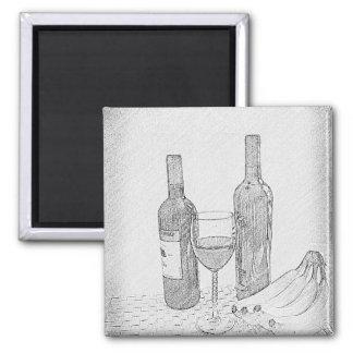 Wine Bottle Still Life Sketch Refrigerator Magnets