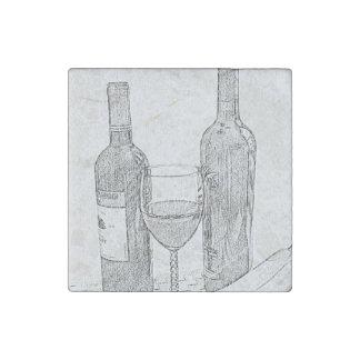 Wine Bottle Still Life Sketch Stone Magnet