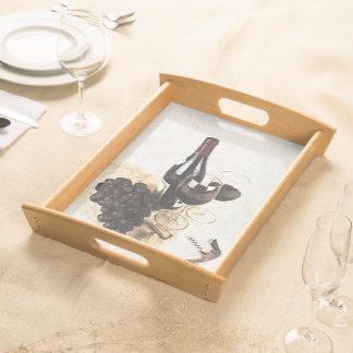 wine bottle, wineglasses serving tray