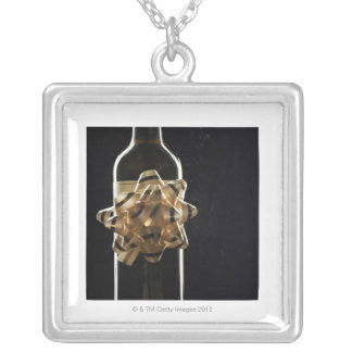 Wine bottle with bow square pendant necklace