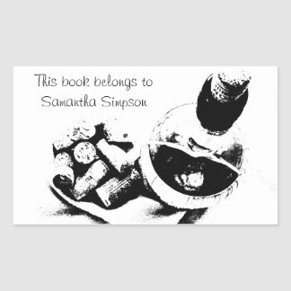 Wine Bottle with Corks Sketch Custom Bookplate Rectangular Sticker
