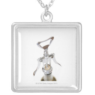 Wine bottle with corkscrew. silver plated necklace