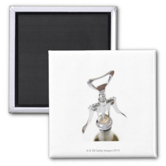 Wine bottle with corkscrew. square magnet