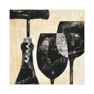 Wine Bottle with Two Glasses Canvas Print