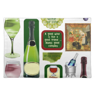 Wine bottles and glasses place mats