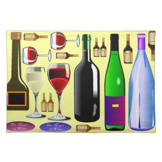 Wine bottles and glasses placemats