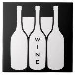 Wine Bottles and Glasses Design Ceramic Tile