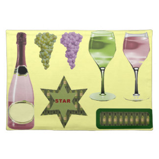 Wine bottles and glasses placemat
