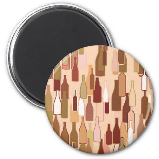 Wine bottles, earth colors, light coral background 6 cm round magnet