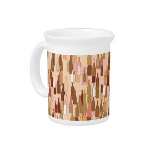 Wine bottles, earth colors, light coral background pitcher