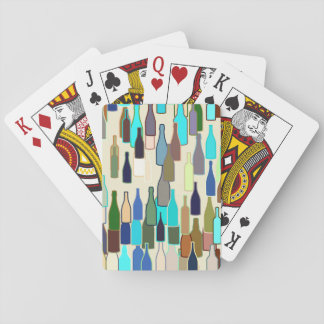 Wine bottles, multi color, beige background playing cards