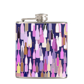 Wine bottles, multi color, dark blue background hip flask