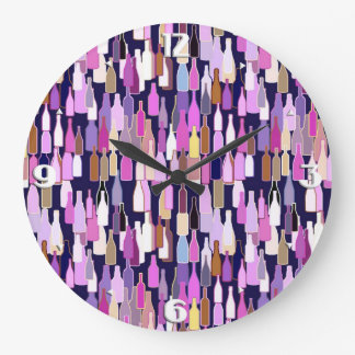 Wine bottles, multi color, dark blue background large clock