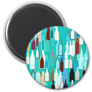 Wine bottles, multi colors, turquoise background 6 cm round magnet