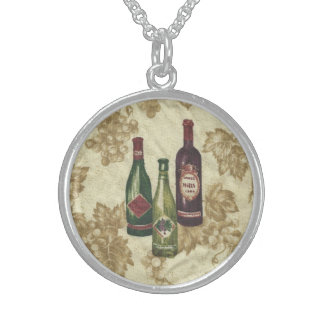 Wine Bottles on Sterling Silver Sterling Silver Necklace