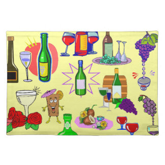 Wine bottles placemat
