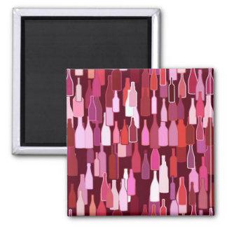 Wine bottles, shades of plum, burgundy background square magnet