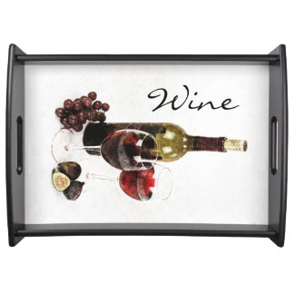 Wine bottles, wine glasses figs and grapes serving tray