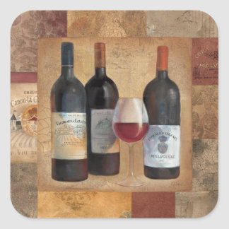 Wine Bottles with Glass Stickers