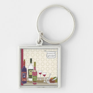 Wine bottles with wineglasses on table key ring