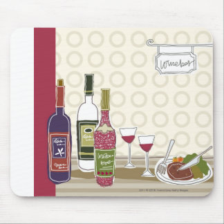 Wine bottles with wineglasses on table mouse mat