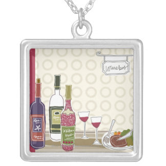 Wine bottles with wineglasses on table silver plated necklace