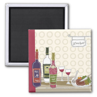 Wine bottles with wineglasses on table square magnet