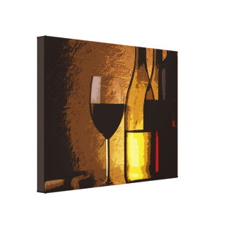wine bottles wrapped canvas print