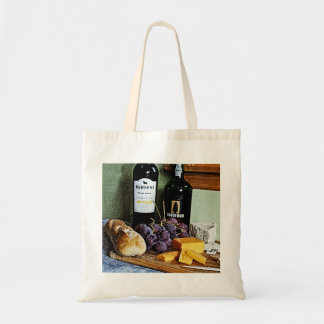 Wine Bread Cheese and Grapes Still Life Budget Tote Bag